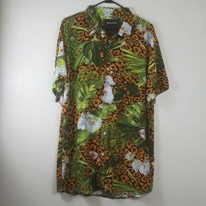 Animal Island Print Shirt Men Size XXL